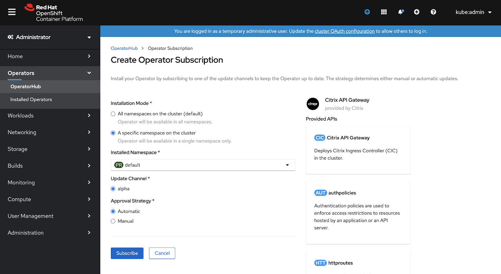 OpenShift Operator Install