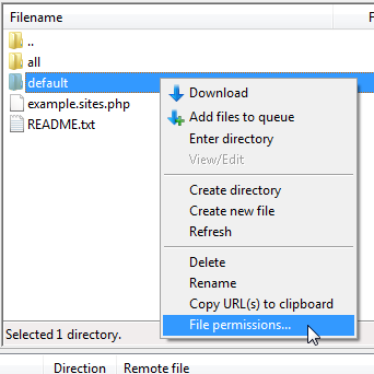 Select File Permissions