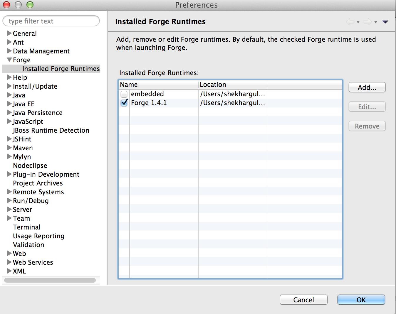 Change Default Forge Installation