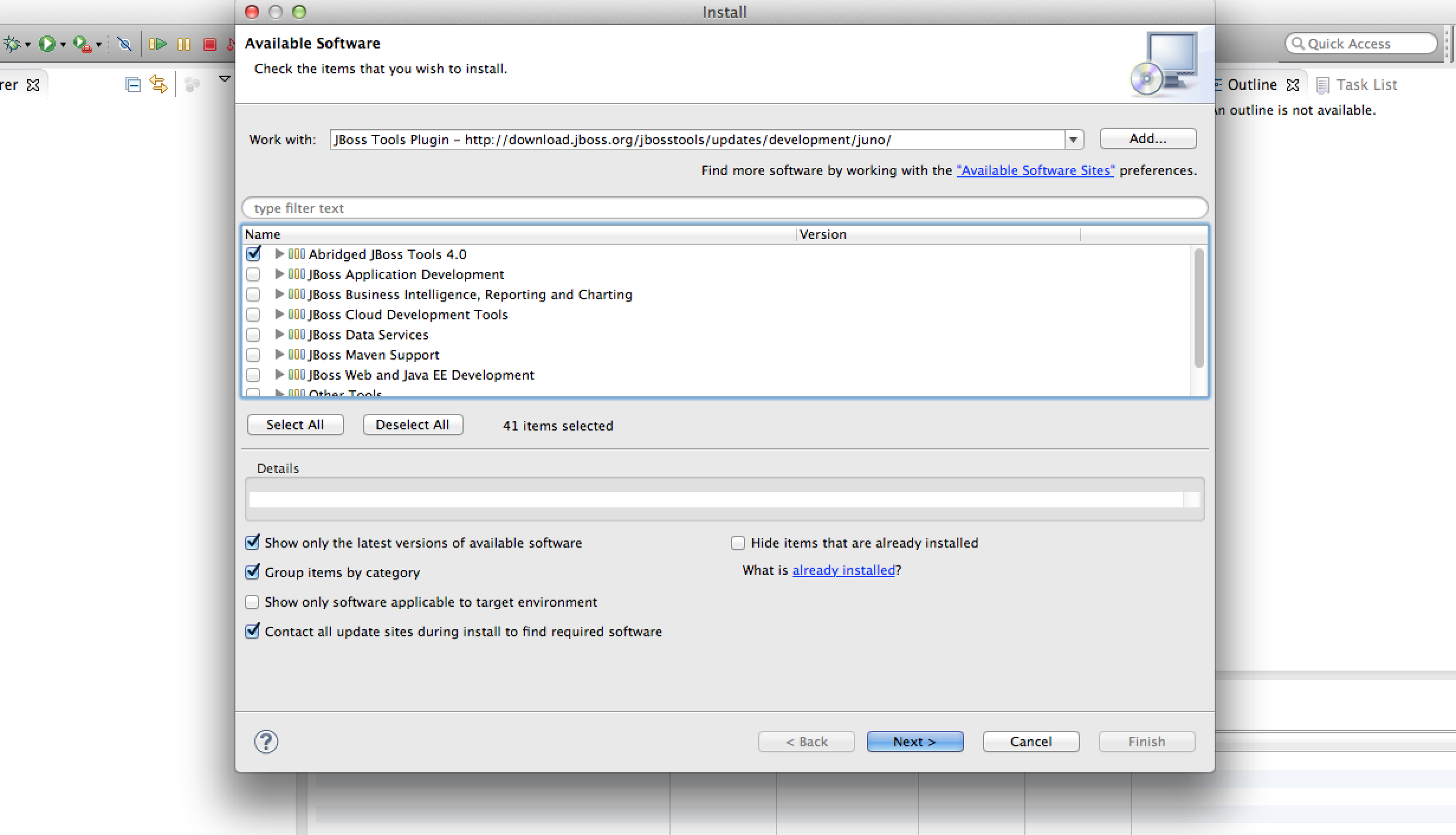 Eclipse JBoss Tools Plugin Selection