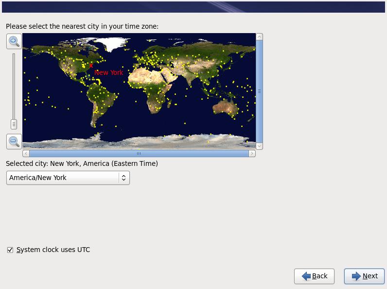 Red Hat OpenShift Enterprise Linux Timezone Screen