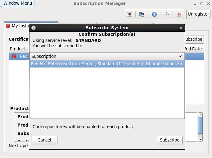 Red Hat OpenShift Enterprise Linux Confirmation Screen