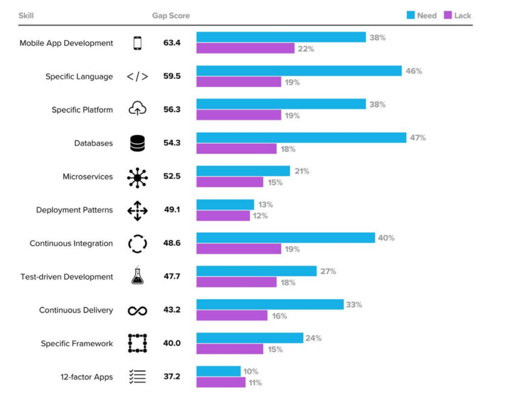 "Source: ""Identifying the Developer Gap"" - 2016 Cloud Foundry Global Perception Study"