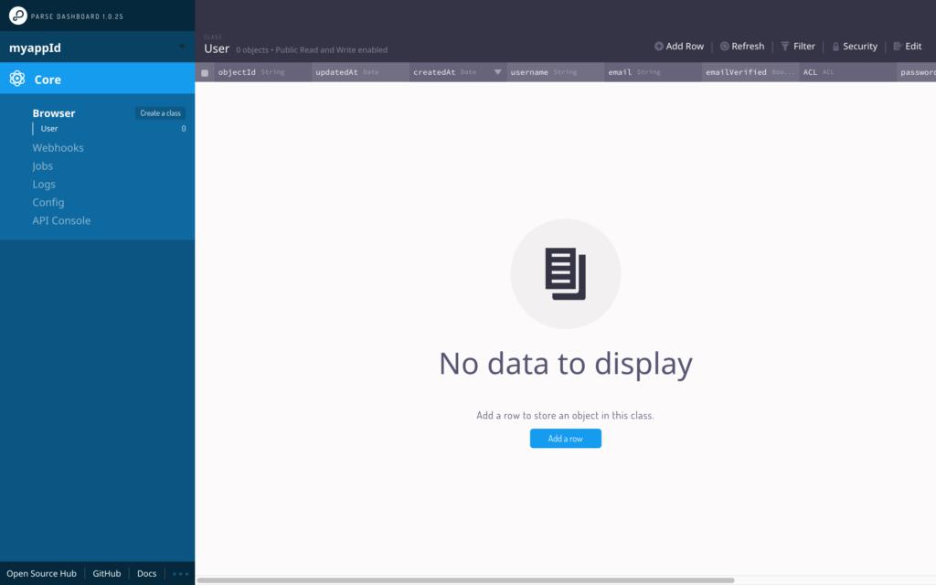 parse dashboard screenshot