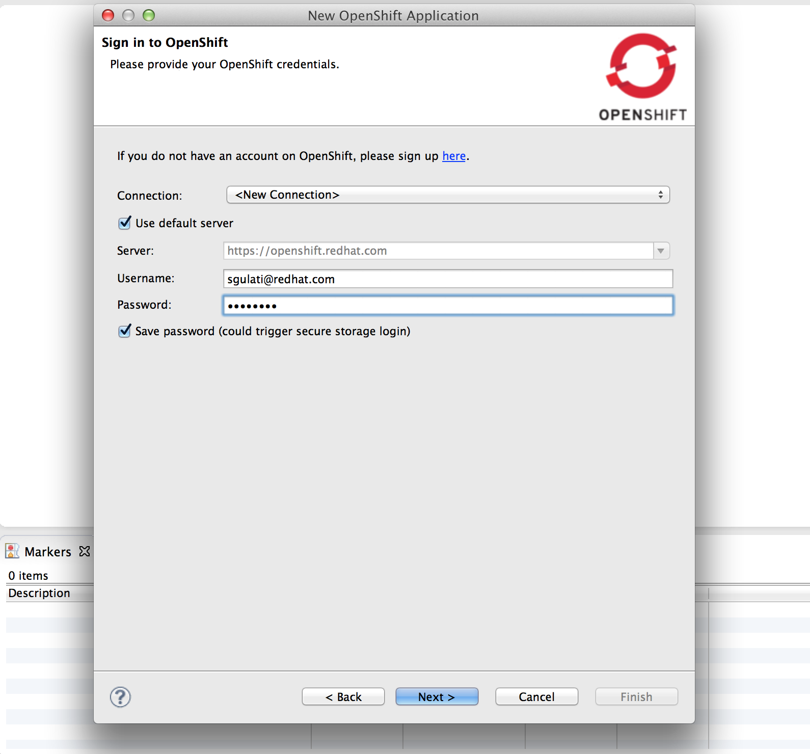 Sign in to OpenShift
