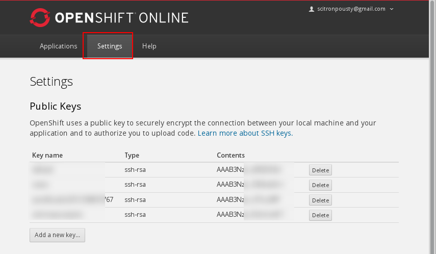 key management in the OpenShift web console picture