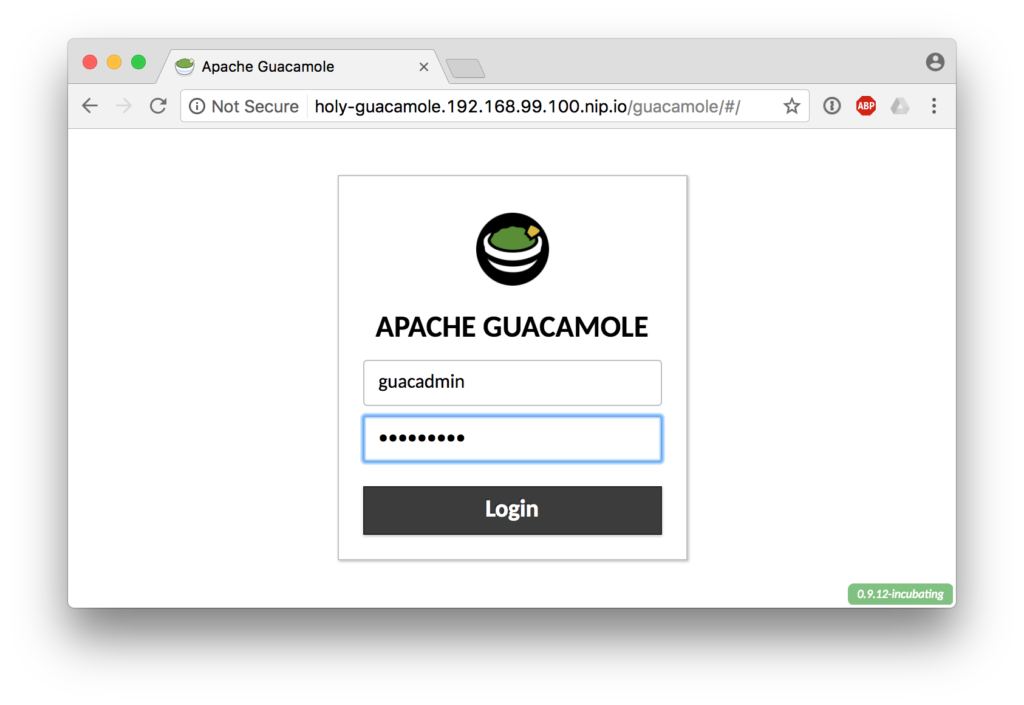 Guacamole Login Screen