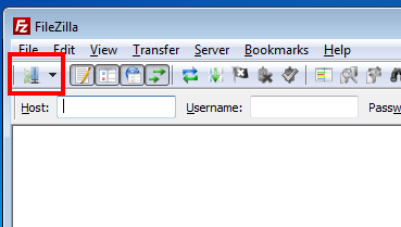 Getting to the filezilla site manager picture