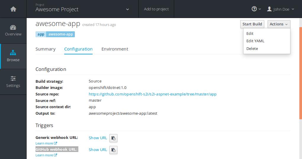 Edit build configuration and grab GitHub webhook URL