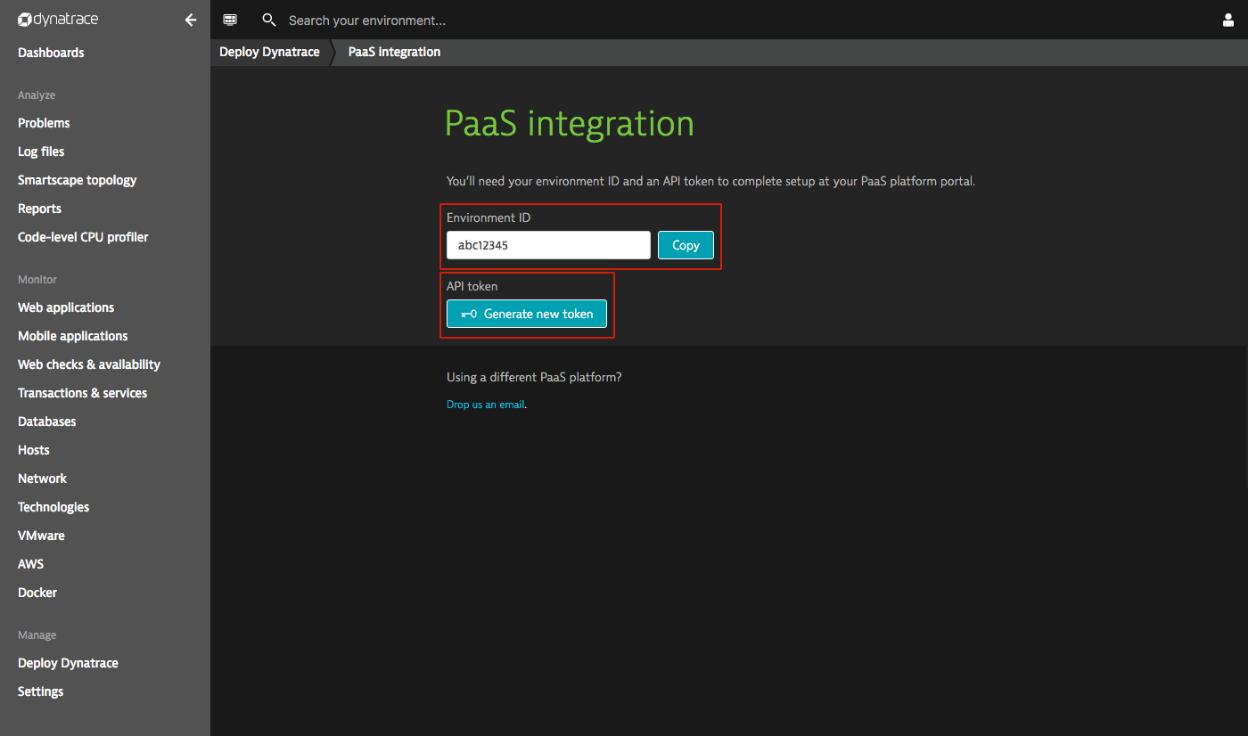 Dynatrace PaaS Integration page screenshot