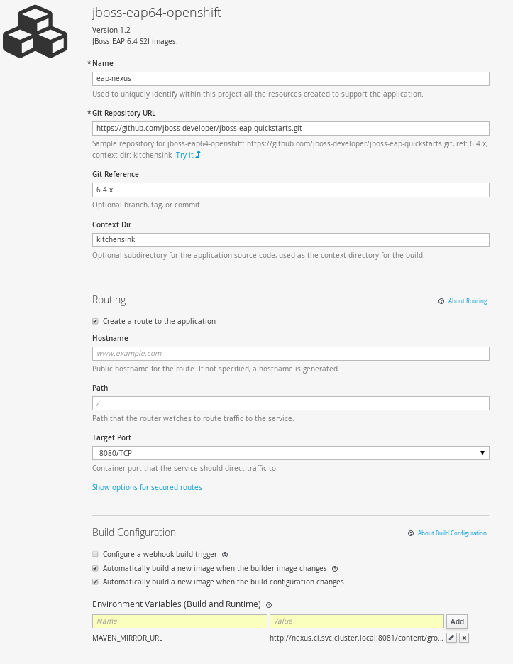 Creating an EAP app using Nexus