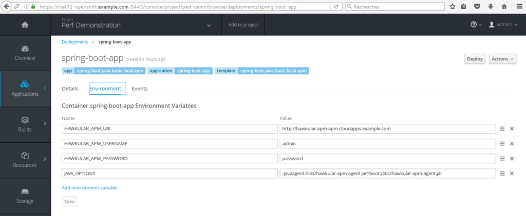 Environment variables for enabling APM
