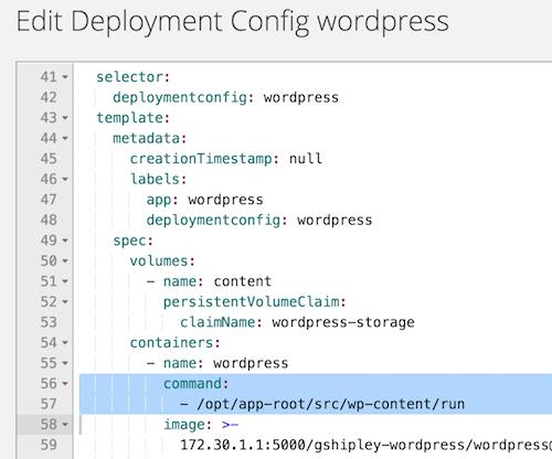 Edit deployment config