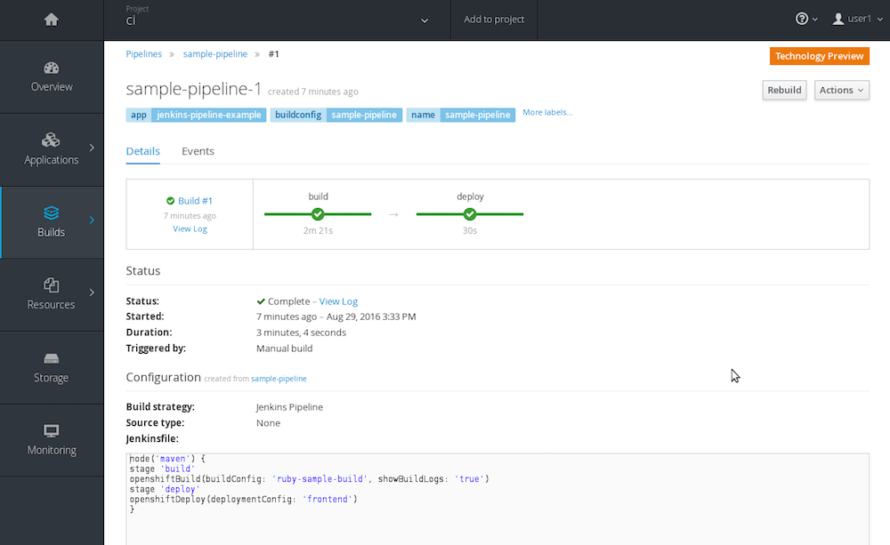 OpenShift Pipelines View