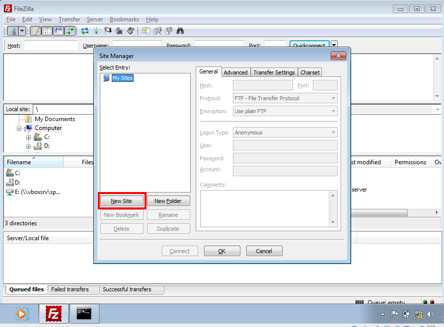 setting up a new site with filezilla picture