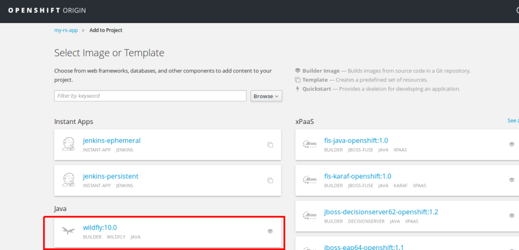 openshift-new-project-wildfly