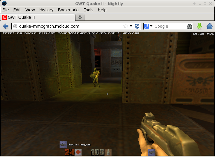 Screenshot of Quake 2 gwt Running on OpenShift picture
