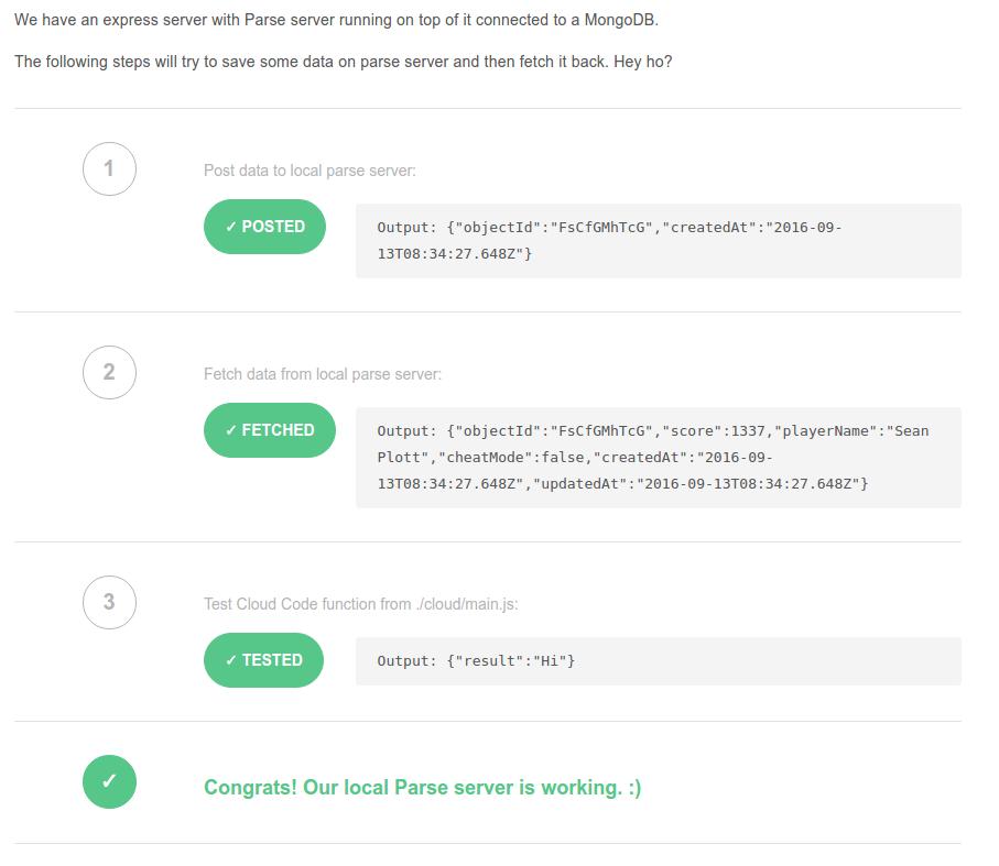 Parse Server Test Page