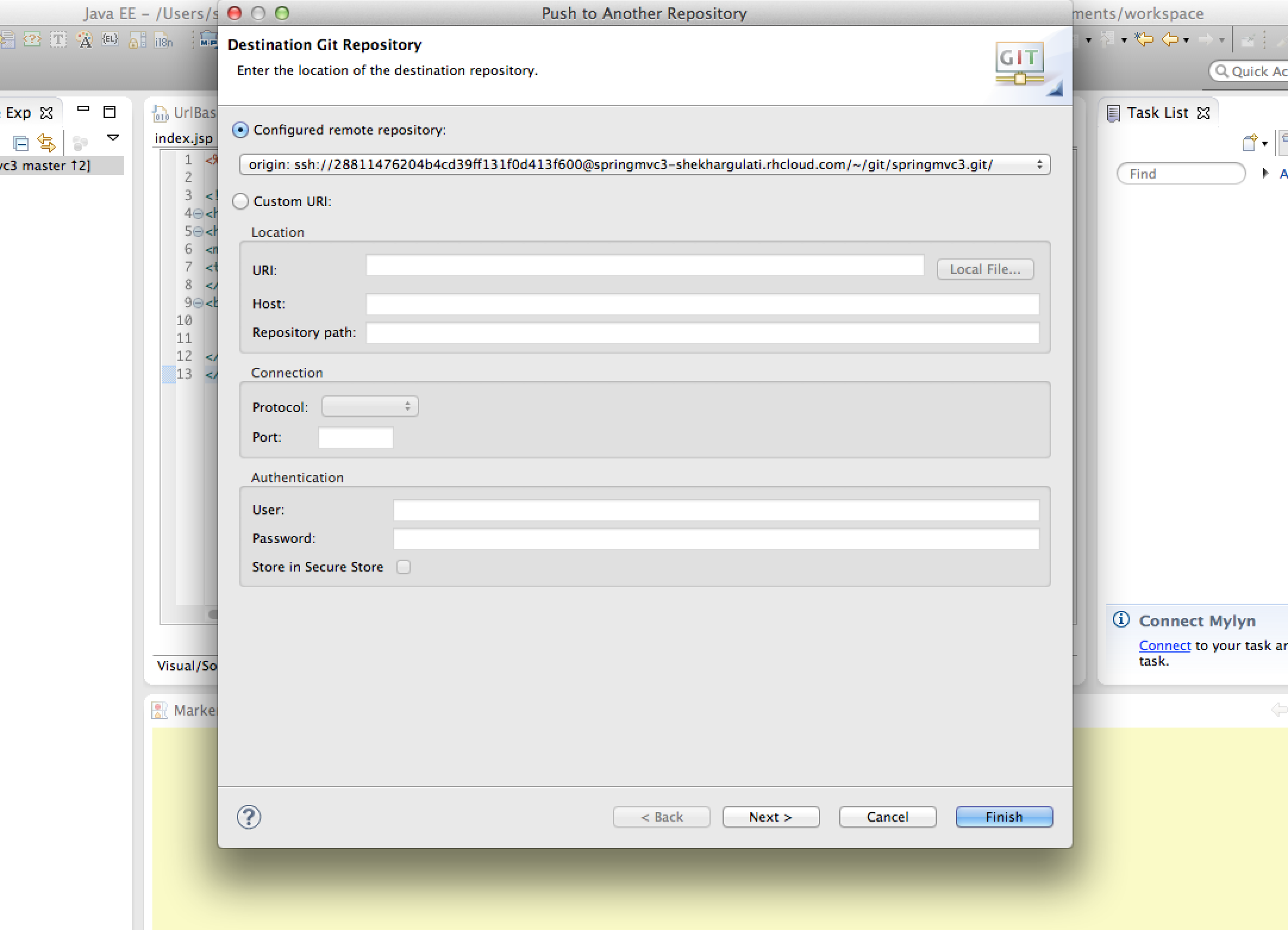 Pushing code to OpenShift