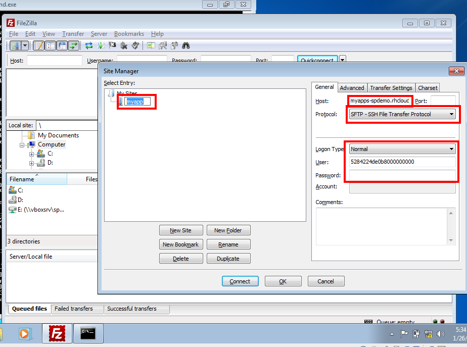 setting up the dialog for SFTP filezilla picture