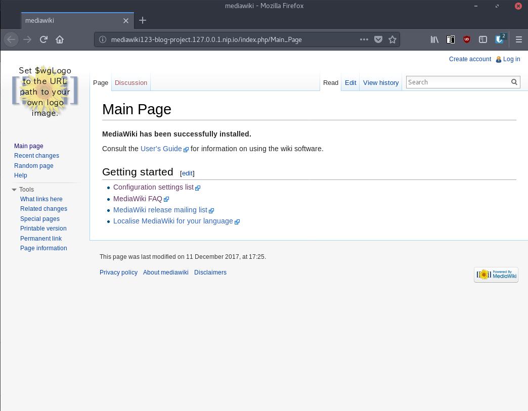 mediawiki startpage