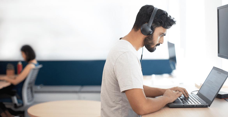 Developer working on laptop