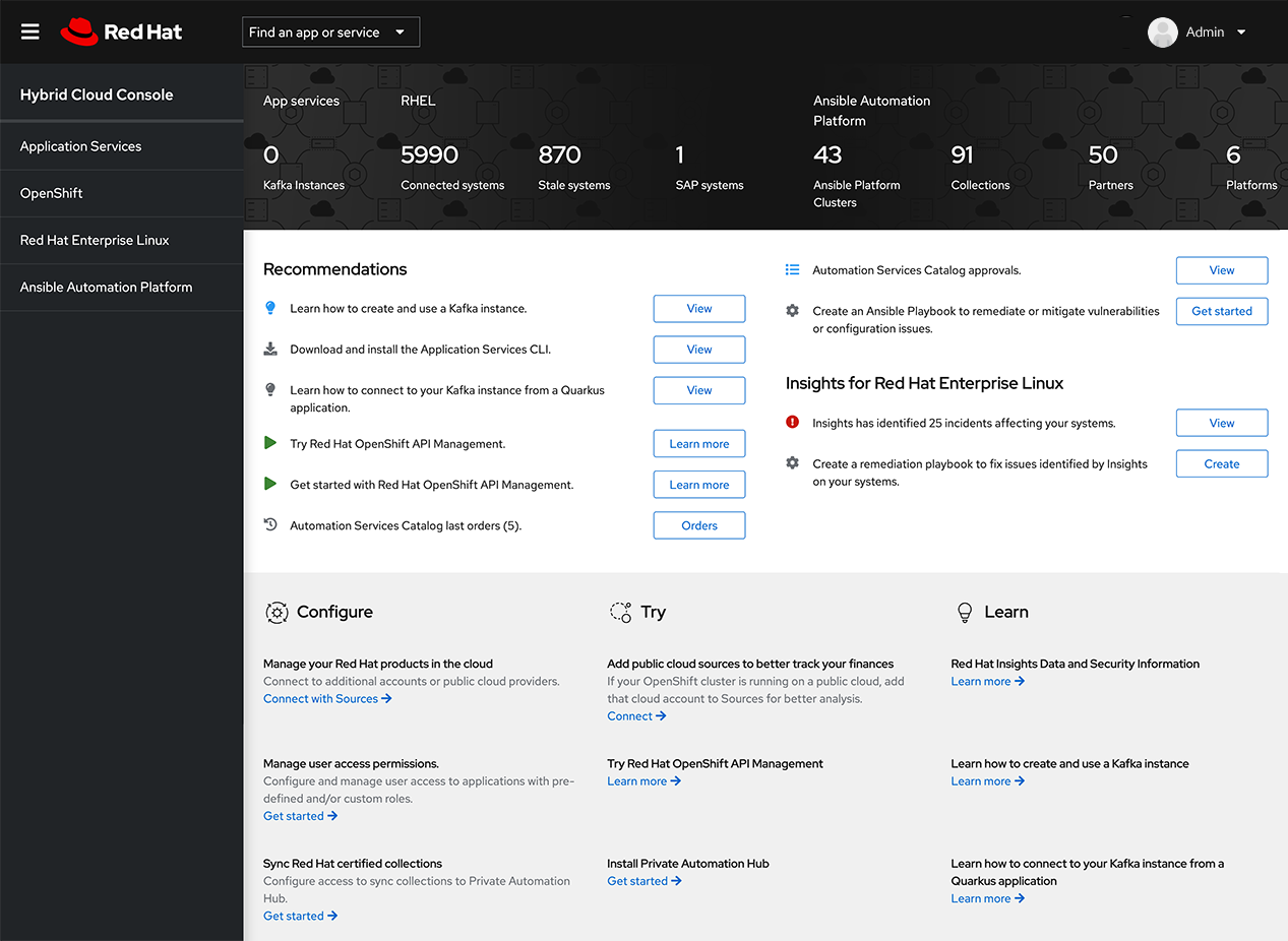 Hybrid Cloud console screenshot