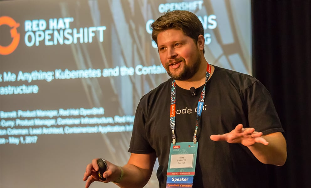 Mike Barrett presenting Red Hat OpenShift