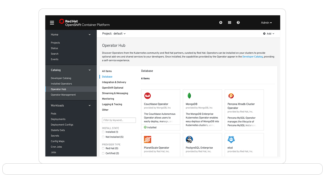 Screenshot of OpenShift operator hub on laptop