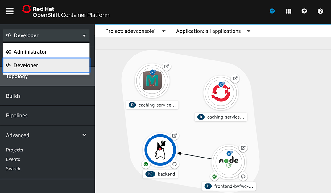 OpenShift Container Platform developer dashboard