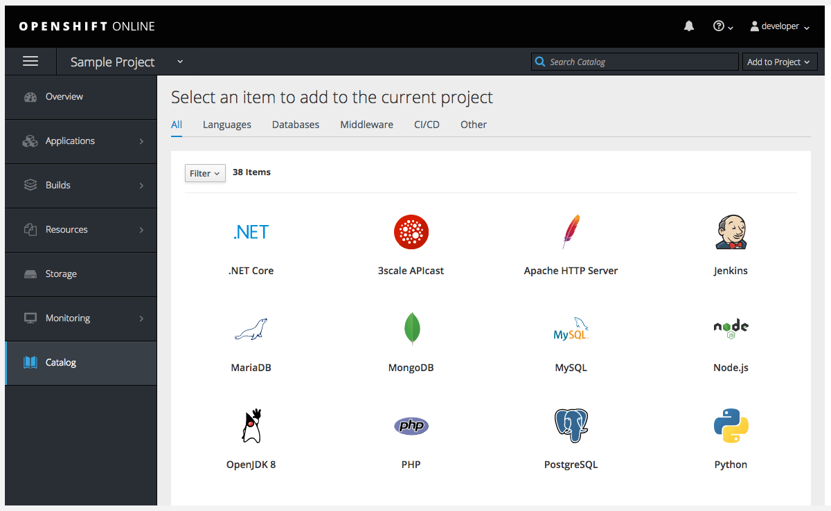 OpenShift Online Catalog Screenshot