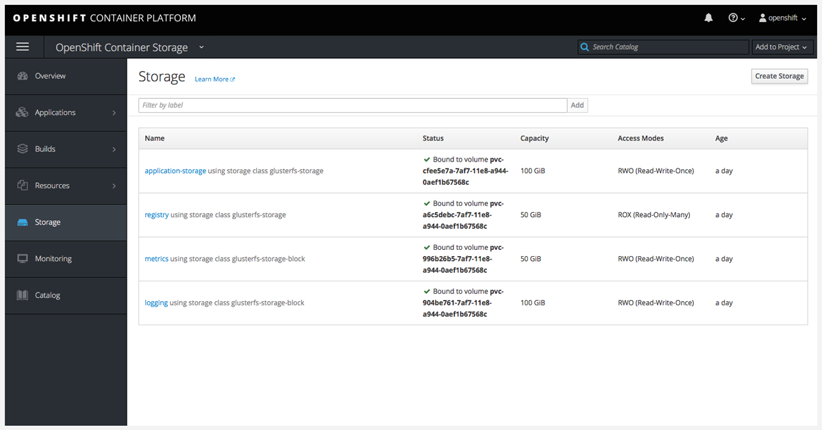 Red Hat Container Storage screenshot
